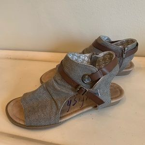 Blowfish Malibu brown canvas sandals with leather